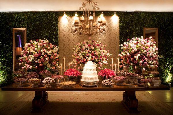 Decoração de Casamento Rosa e Bordô - Peguei o Bouquet