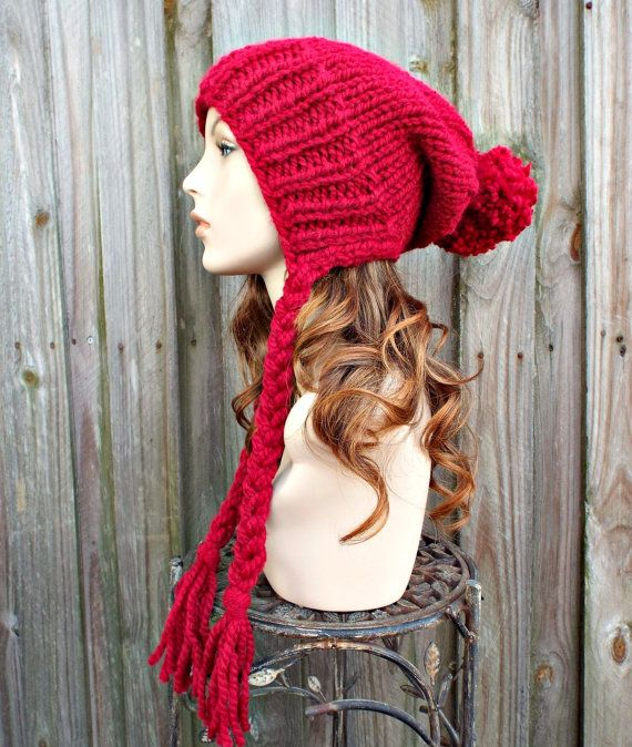 Knit Hat Womens Hat Earflap Hat Slouchy Beanie - Charlotte Slouchy Ear Flap Hat in Cranberry Red Knit Hat - Womens Accessories Winter Hat