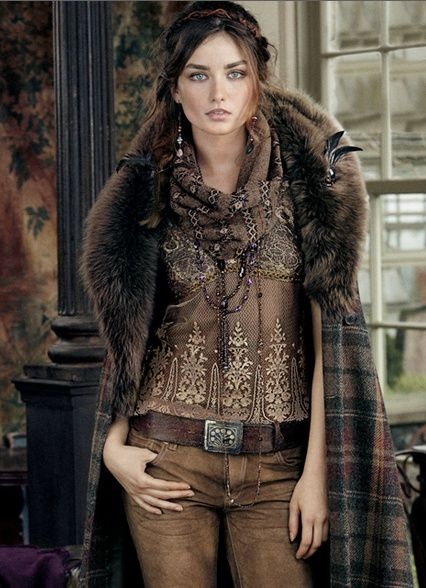 brown never looked so good...bohemian...  chic...jeans...leather belt... plaid coat
