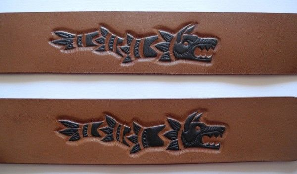 Handcarved and hand painted leather bracelet, Draco -the Dacian wolf