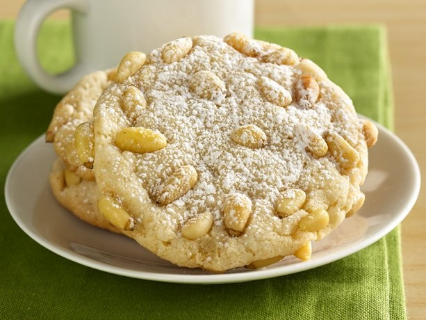 Italian Pignoli Nut Cookies - Prize-Winning Recipe 2008! Bring a delicious and sweet part of Italy into your home with a classic almond cookie rolled in pine nuts.  (almond paste & pine nuts, mmmm!)