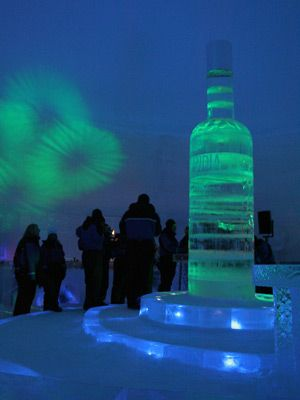 Finlandia Vodka bottle made of ice .