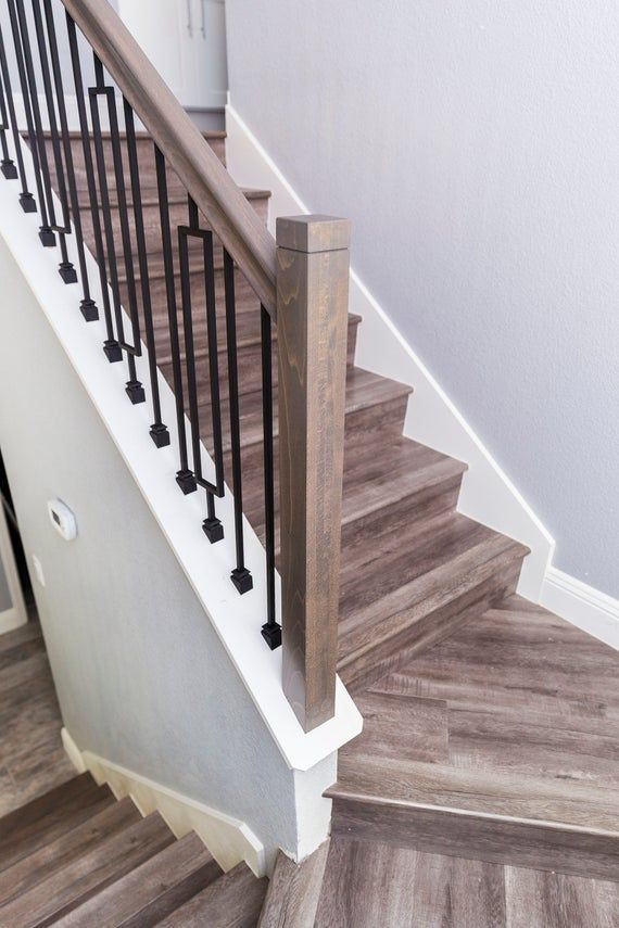 A Simple Modern Newel Post With A Notched And Routed Edge   Red Oak Stair Railing   Inside   2 Tone   Beautiful   Color   Two Toned