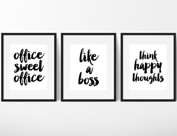 Sassy Digital Print Pack // Office Sweet Office // Like A Boss // Think Happy Thoughts // Chic Home + Office Decor // Funny Motivational Poster