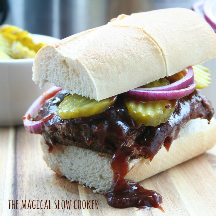 Stay with me here, this does not taste like a McRib! Why not you ask? Because this Slow Cooker Boneless Rib Sandwich is pure rib meat!