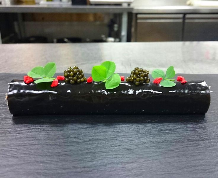 King crab with avocado and jelly cuttlefish ink