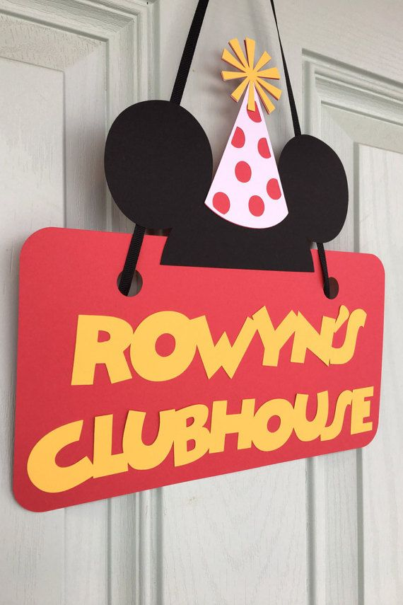 Mickey Mouse Clubhouse front door sign! Personalized with your childs name!!! This Mickey is ready for the party with a festive birthday hat!  Perfect for your childs birthday party! Mickey Mouse Clubhouse Sign looks great on your front door for all your guest to know where the party is! Handmade and fully assembled. This sign is about 11x9. Please note that for shipping purposes, I will leave the hat unattached to the sign. I suggest using a double sided tape, or glue/stick glue to atta...