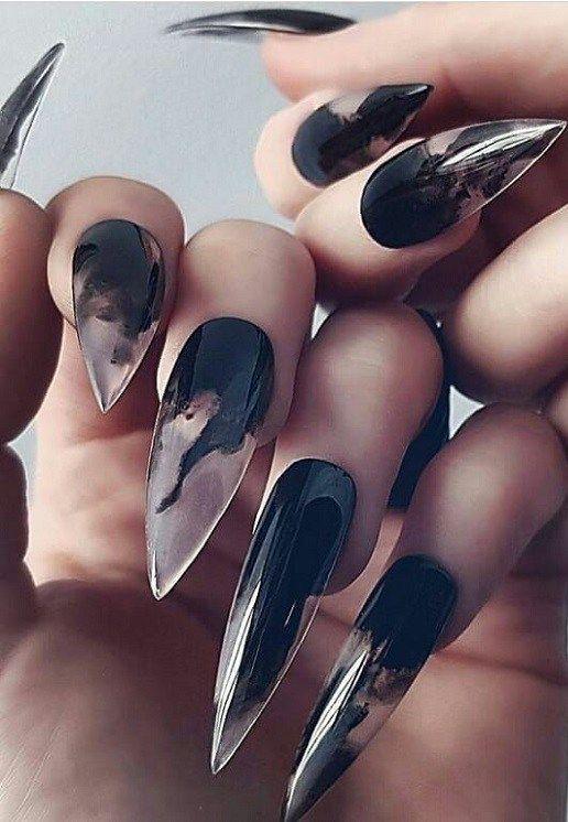 36 atemberaubende schwarze Stiletto Nail Designs – yes baby
