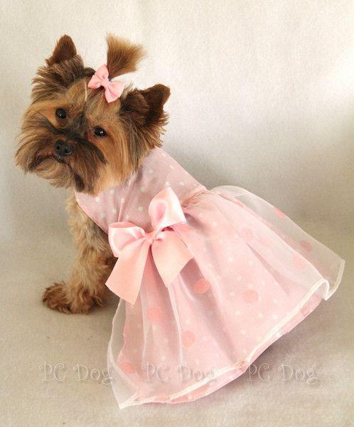 Pink Polka Dot Princess Dog Dress