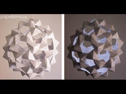 Cómo hacer lámpara de papel (icosaedro truncado) | Manualidades