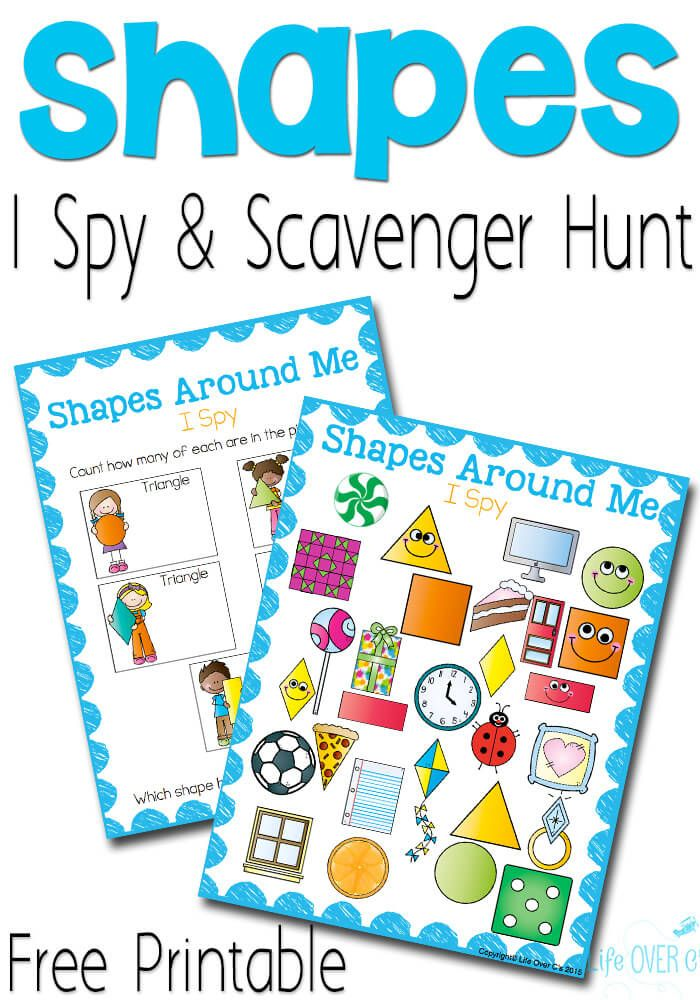 Shape I Spy Free Printables! Such a cute idea for preschoolers! Kids count the squares, rectangles, triangles, circles and rhombuses.