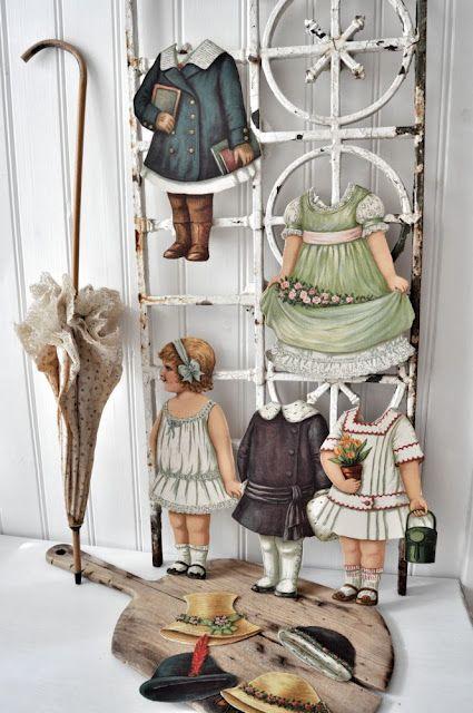 Vintage paper dolls display via Inspiration Lane