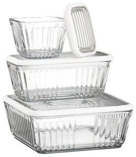 Refrigerator Storage Containers With Silicone Lids - contemporary - food containers and storage - by Crate&Barrel