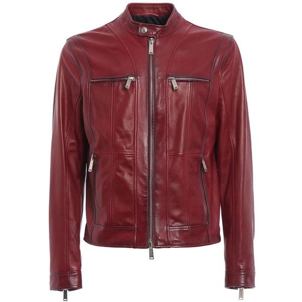 Multipocket Leather Jacket ($1,421) ❤ liked on Polyvore featuring men's fashion, men's clothing, men's outerwear, men's jackets, red, mens red leather jacket, mens vintage jackets, mens vintage leather jackets, mens zip jacket and mens multi pocket jacket