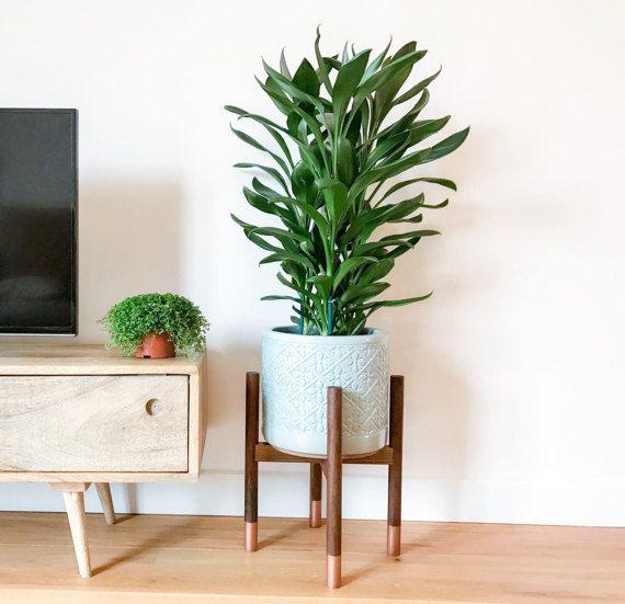 Walnut hardwood mid-century plant stand. Beautiful cool hand