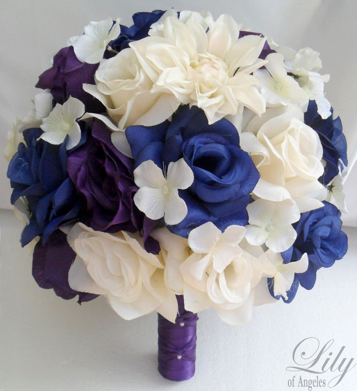 17 Piece Package Wedding Bridal Bride Maid Bridesmaid Bouquet Boutonniere Corsage Silk Flower Blue Purple White Lily Of Angeles Publ01