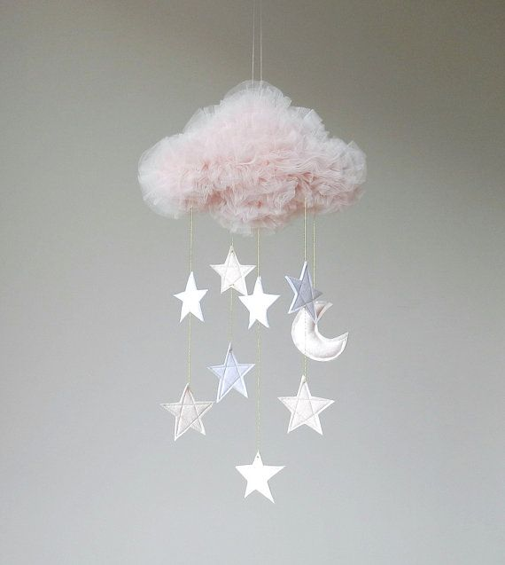 Handmade Large Dreamy Blush Tulle Cloud Mobile with by SoloUnSogno