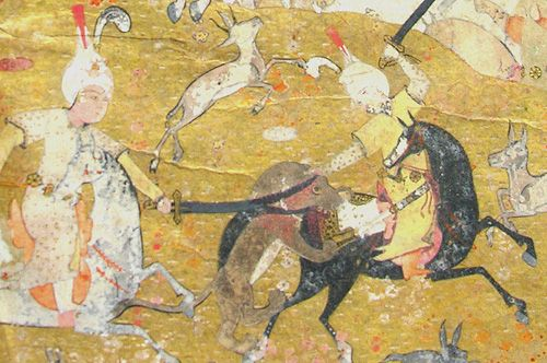 Illustration depicting a hunt. The detail (below) shows two men on horseback attacking a lion. From p.786 of MS Browne 1434, theKhamsa of Nizami (Persian, 1540)