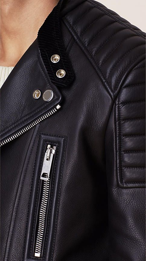A collarless Burberry biker jacket engineered in calf leather. Discover the men's outerwear collection at Burberry.com