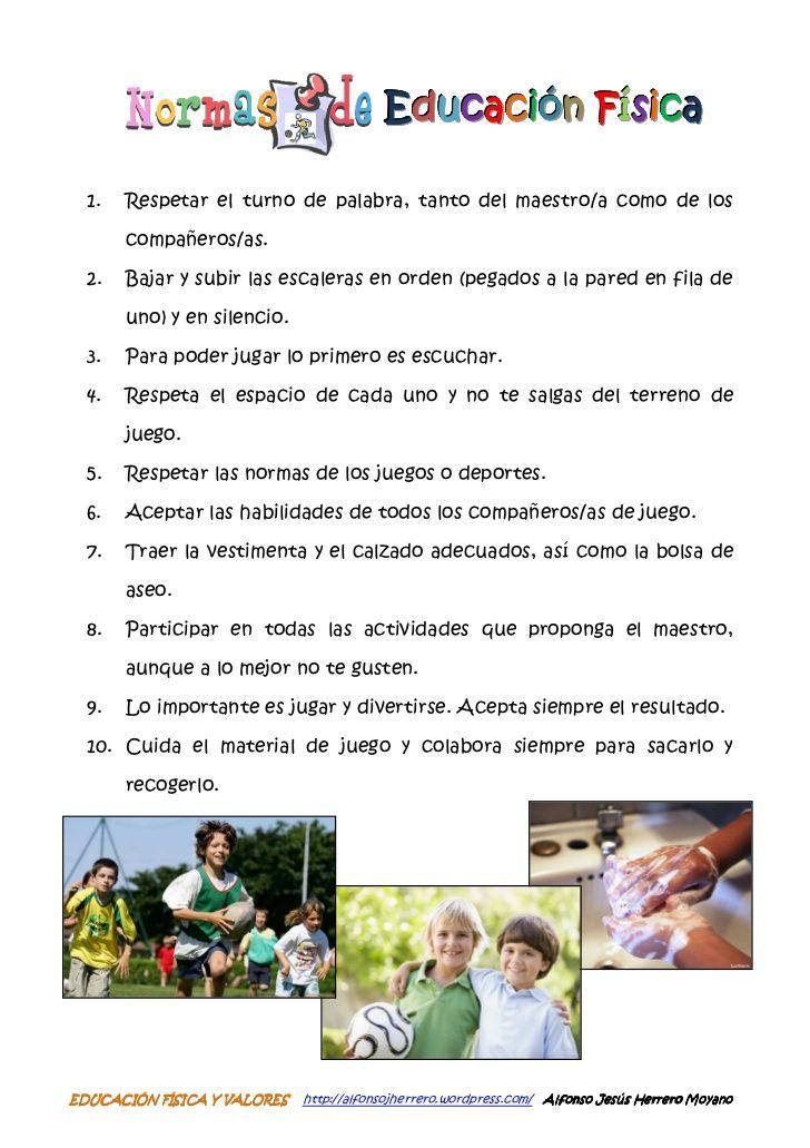Educación Física 1 Respetar El Turno De Palabra Tanto Del Maestro A Como De Los Compañer Normas De Educación Física Educacion Fisica Normas De Clase