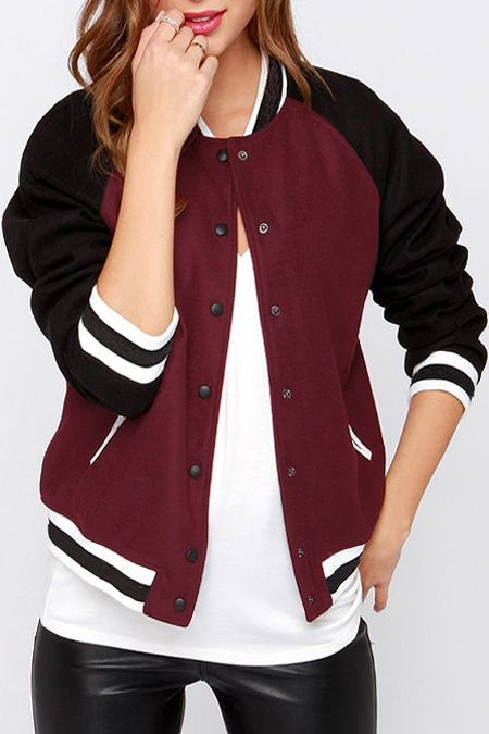 Jewel Neck Color Block Baseball Jacket WINE RED