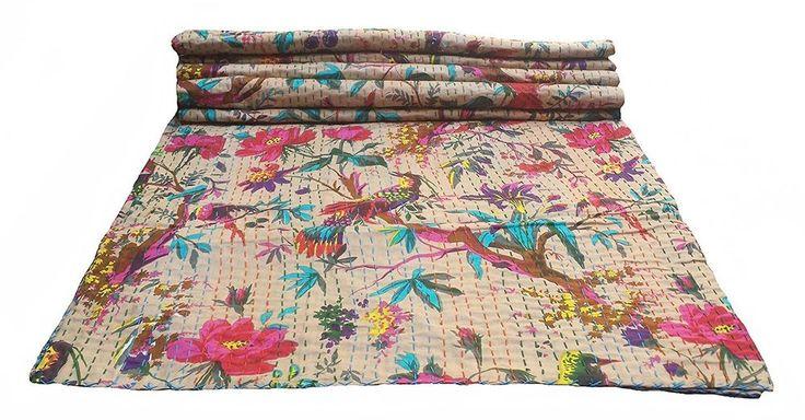 Bird Print Twin Size Kantha Quilt Beige, Kantha Blanket, Bed Cover, Twin Kantha #ColorsOfRajasthan