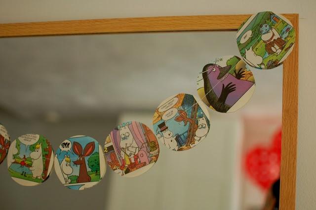 moomin comic bunting - muumi paperi koristeet