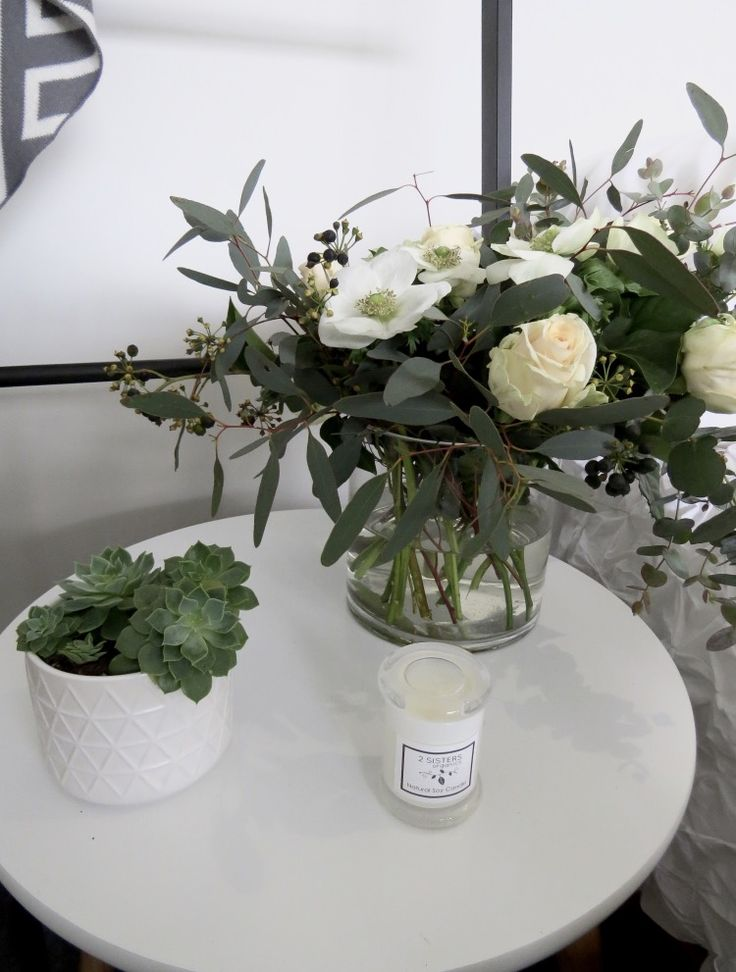 Home decor Inspo! styling and photography by: @onthedecorativefringe  Candles by @2sistersorganics Planters by: @sucus&co florals by us @bettiebeeblooms