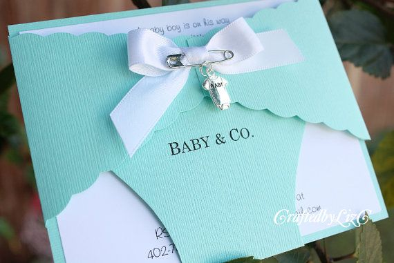 Baby Shower Diaper Invitation - Baby and Co - Boy or Girl - Aqua - Custom - Announcement – Newborn - Inspired by Tiffany & Co