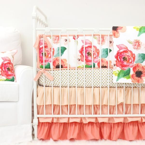 Coral and Gold Boho Chic Floral 3-Piece Ruffle Crib Bedding