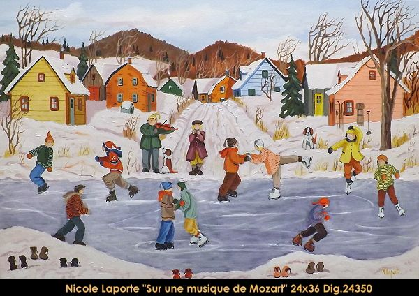 Nicole Laporte original oil painting on canvas #nicolelaporte #art #artist #canadianartist #quebecartist #naiveart #winterscene #skating#originalpainting #oilpainting #balcondart #multiartltee