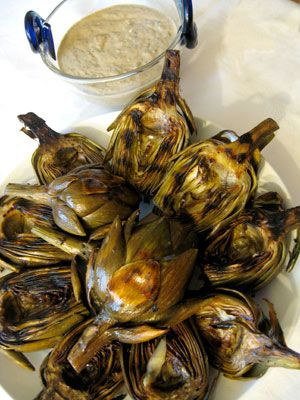 Grilled Artichokes with Basil Garlic Dip