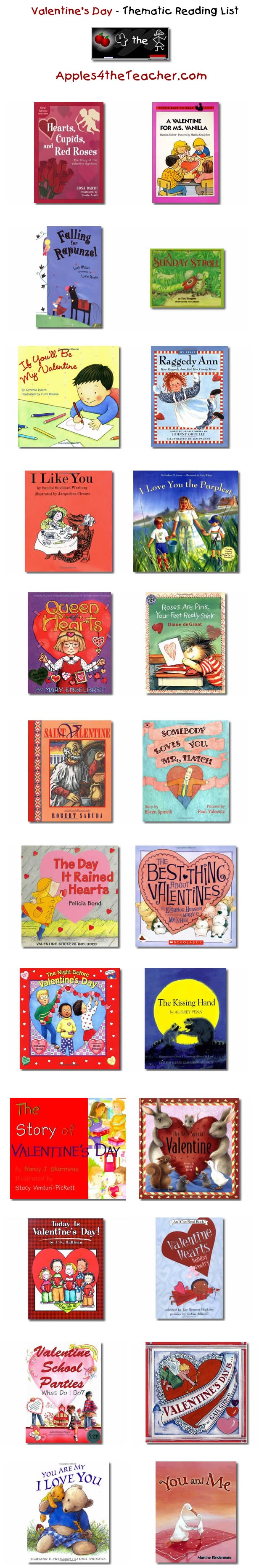 Suggested thematic reading list for Valentines Day - Valentine's Day books for kids.