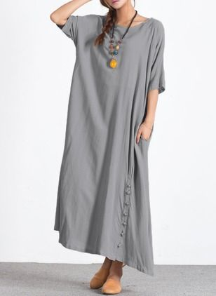 Cotton Linen Solid Half Sleeve Maxi Casual Dresses (1048104) @ floryday.com