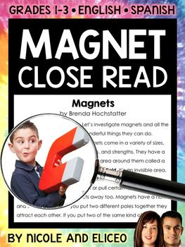 This downloads in English plus a FREE Spanish version. It has a variety of resources for your magnet lessons or unit. It includes a close reading guide, text code reference sheet, poster, vocabulary cards, non-fiction text and activity sheets. I made these magnet close reading activities to boost my students vocabulary development and deepen their comprehension as they learn to read with a purpose and pay more attention to details.