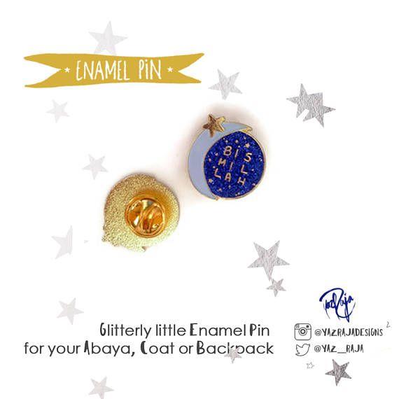 Bismillah Moon and Stars Hard Enamel Glitter Pin  Ramadan &