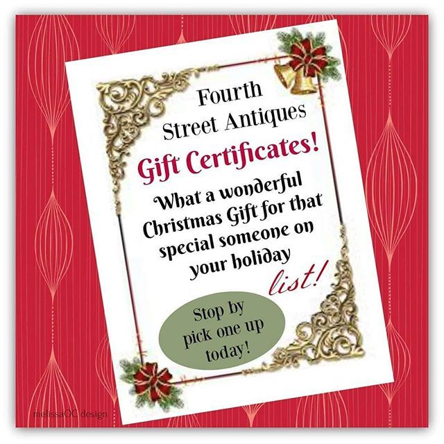 Seriously  THE BEST Holiday Present!! Fourth Street Antiques Gift Certificates are available in the amount of your choice this year. What a fun way to share the love and joy of gift-giving  stop by or call the Shop today (phone in bio)  Our shoppers  LVE this place!! Give them what they really want a day shopping with us!  . . #antiquing #antiquestores #shoptemecula #giftcertificate #oldtowntemecula #shopoldtown #holidayshopping #shoptilyoudrop #theartofgiving #giftgivingideas #destinationtemecula #fourthstreetantiques #shoplocal #shopantiques #destination4thstreetantiques #stay #visittemecula #christmasgifts #holidaycheer #happyholiday #merrychristmas #deckthehalls #homefortheholudays #shopvintage