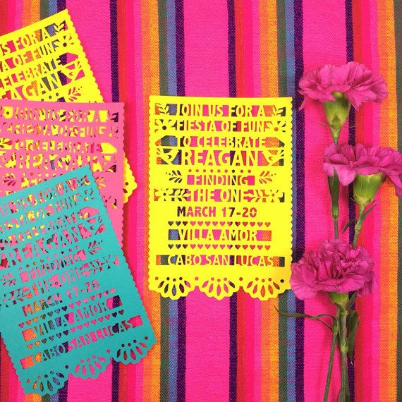 6 Papel Picado Invitations, Fiesta Party Invites, Paper Cut Mexican Invitations, SET OF 6
