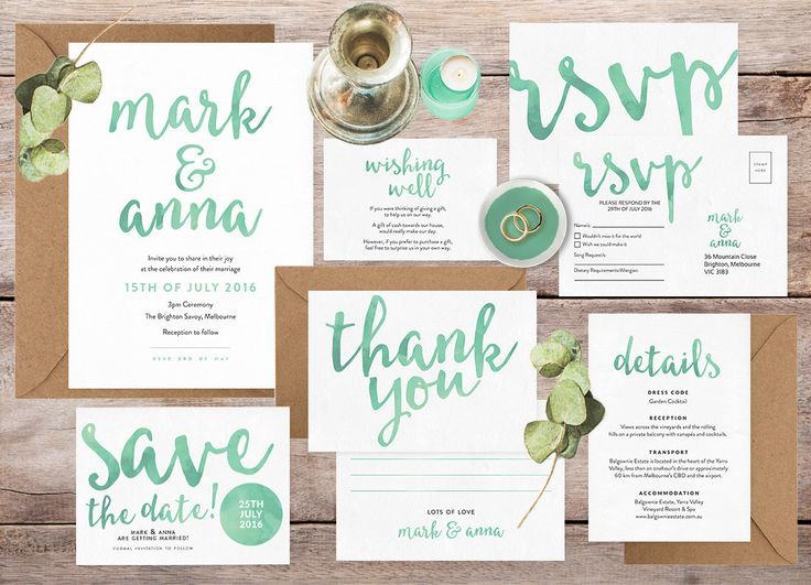 Wedding Invitation Set, Wedding Invitation Suite, Wedding Invitations  Australia, Green Wedding Invitations,