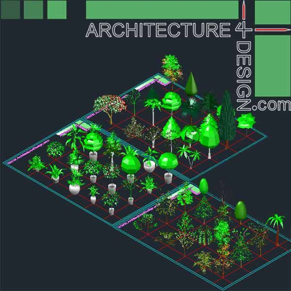 3D trees and shrubs