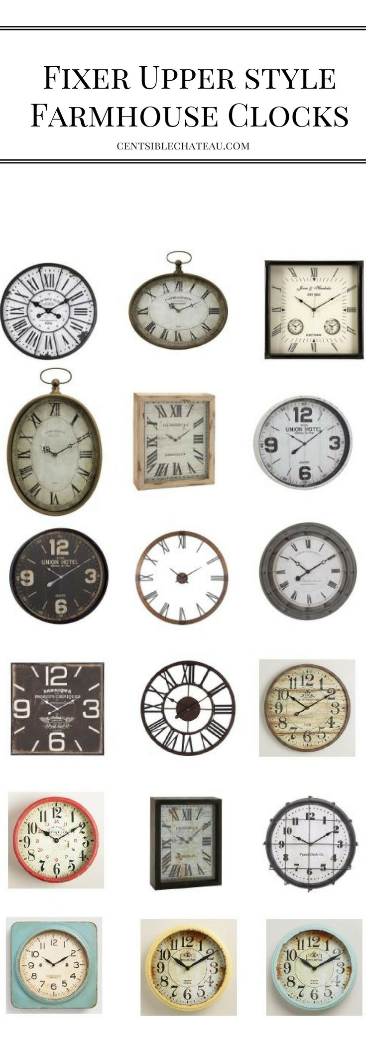Clocks used as a home decor idea - use this in your living spaces