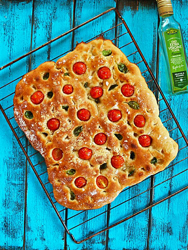 Simple Spelt Focaccia Bread Recipe with Cherry Tomatoes and Basil