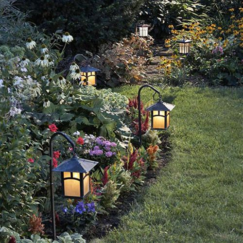 small lanterns in the garden