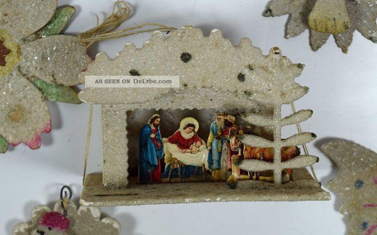 Weihnachtsbaumschmuck Aus Pappe Mit Glimmer Baumbehang 27 Teile Christmas Tree Antike Originale vor 1945 Bild