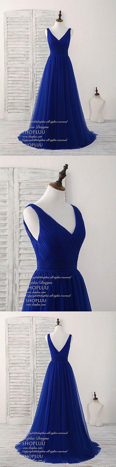 Simple v neck Royal blue tulle long prom dress blue evening dress, blue bridesmaid dress