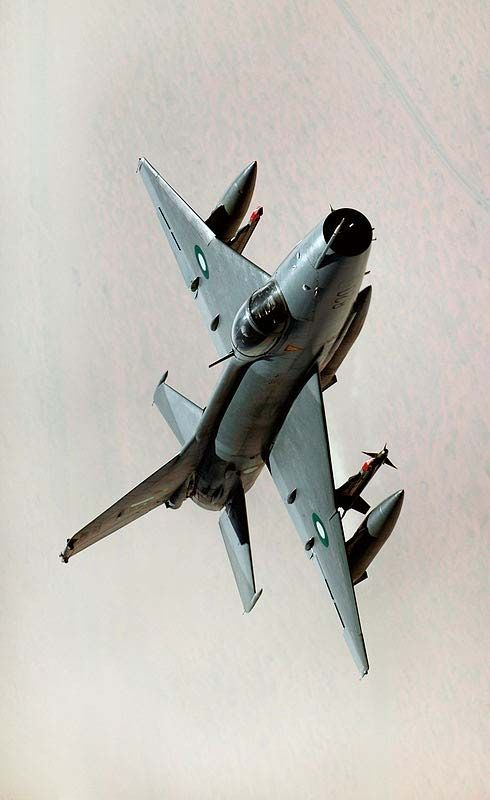 A Pakistan Air Force F-7PG, a modern version of the J-7, in flight during a training exercise held in 2009.