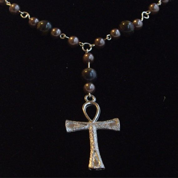 Blue Tiger Iron Ankh Necklace On Silver Chain With Accent Beads on Etsy, $15.00 AUD