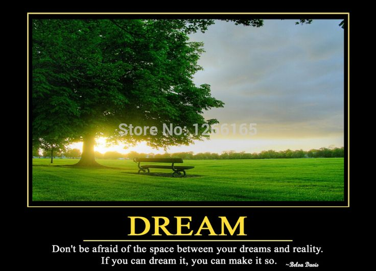 "Motivational inspirational quotes "" DREAM "" print on silk Wall Art Creative Landscape Poster Home Deco Gift A11(China (Mainland))"