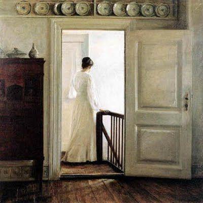 rosebiar: Carl Vilhelm Holsoe (Danish artist, 1863-1935) Woman in the Stairs