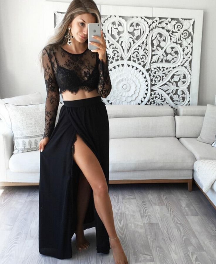 2016 Sexy Lace Two Piece Prom Dress,See Through Lace Prom Dress,Prom Dress 2016,Prom Gowns,Chiffon Prom Dress for Teens,Lovely Evening Dress,Party Dress,A line Evening Dress
